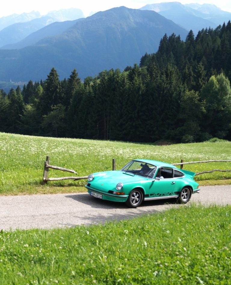 Grünes Auto auf grüner Wiese