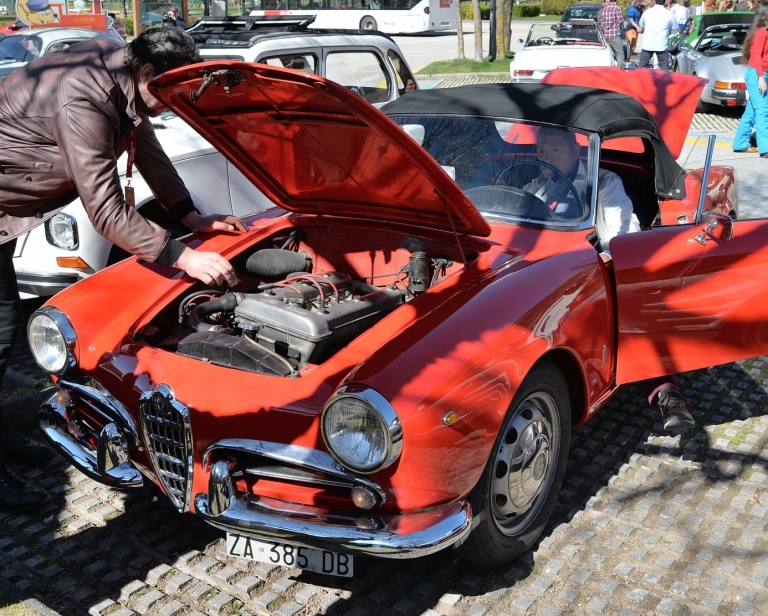 Offene Motorhaube bei rotem Auto